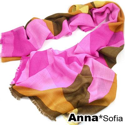 AnnaSofia 幾何拼色塊 薄款純羊毛圍巾(桃黃咖)
