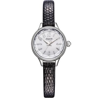 JULIUS聚利時 霓光序曲立體切割面皮錶帶腕錶-黑/24mm