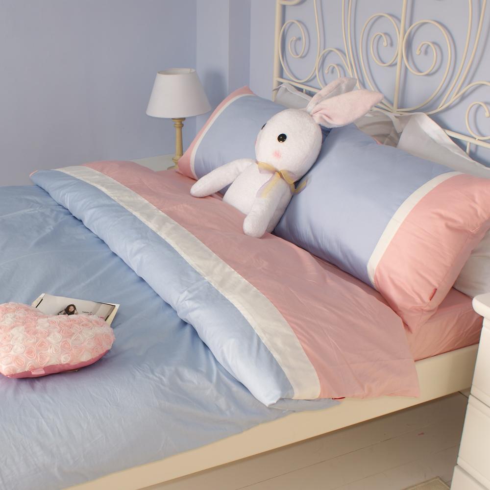 OLIVIA COLORS 《英式簡約系列 粉紅 白 水藍》雙人四件式兩用被全舖棉床包組