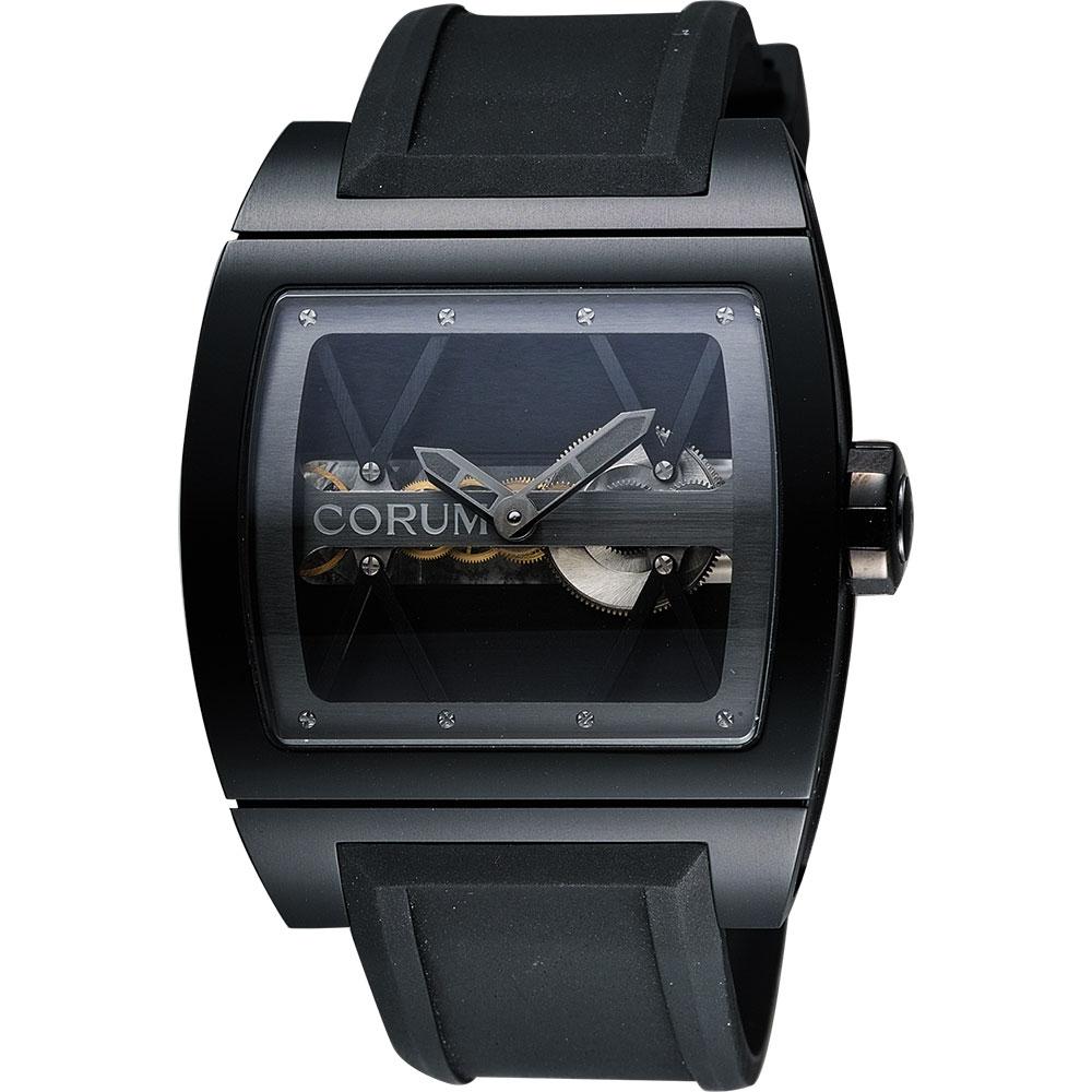 Corum崑崙Ti-Bridge雙鏤空限量手動上鍊械腕錶-黑43mm