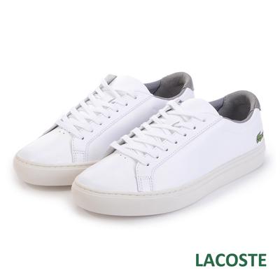 LACOSTE 男用真皮休閒鞋-白/灰
