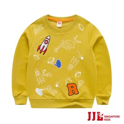 JJLKIDS 太空世界塗鴉長袖T恤(黃色)