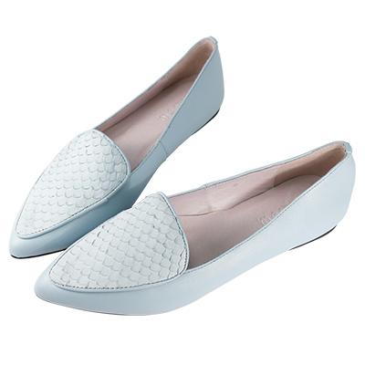 Robinlo Studio 簡約造型牛皮壓紋平底鞋 藍