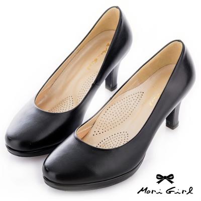 Mori girl MIT手工牛皮微尖防水台氣墊跟鞋 黑