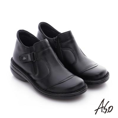 A.S.O 手縫氣墊-3E寬楦 真皮氣墊鞋 黑
