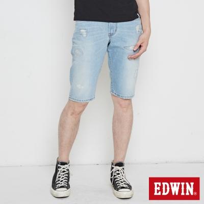 EDWIN 503NARROW刷破短褲-男-重漂藍