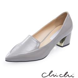 Chichi 韓國直送 漆皮亮面低跟鞋*灰色