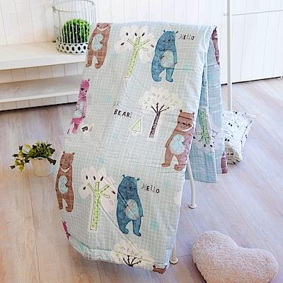 OLIVIA  小熊森林 藍  5尺X6尺 100%精梳純棉夏日涼被