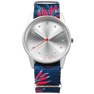 HyperGrand 鄉村棕櫚 首創印花設計 極簡面板 尼龍手錶-銀x藍紅/38mm