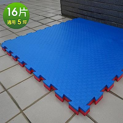 Abuns 百大特厚4CM紅藍雙色榻榻米紋運動地墊-16片(適5坪)