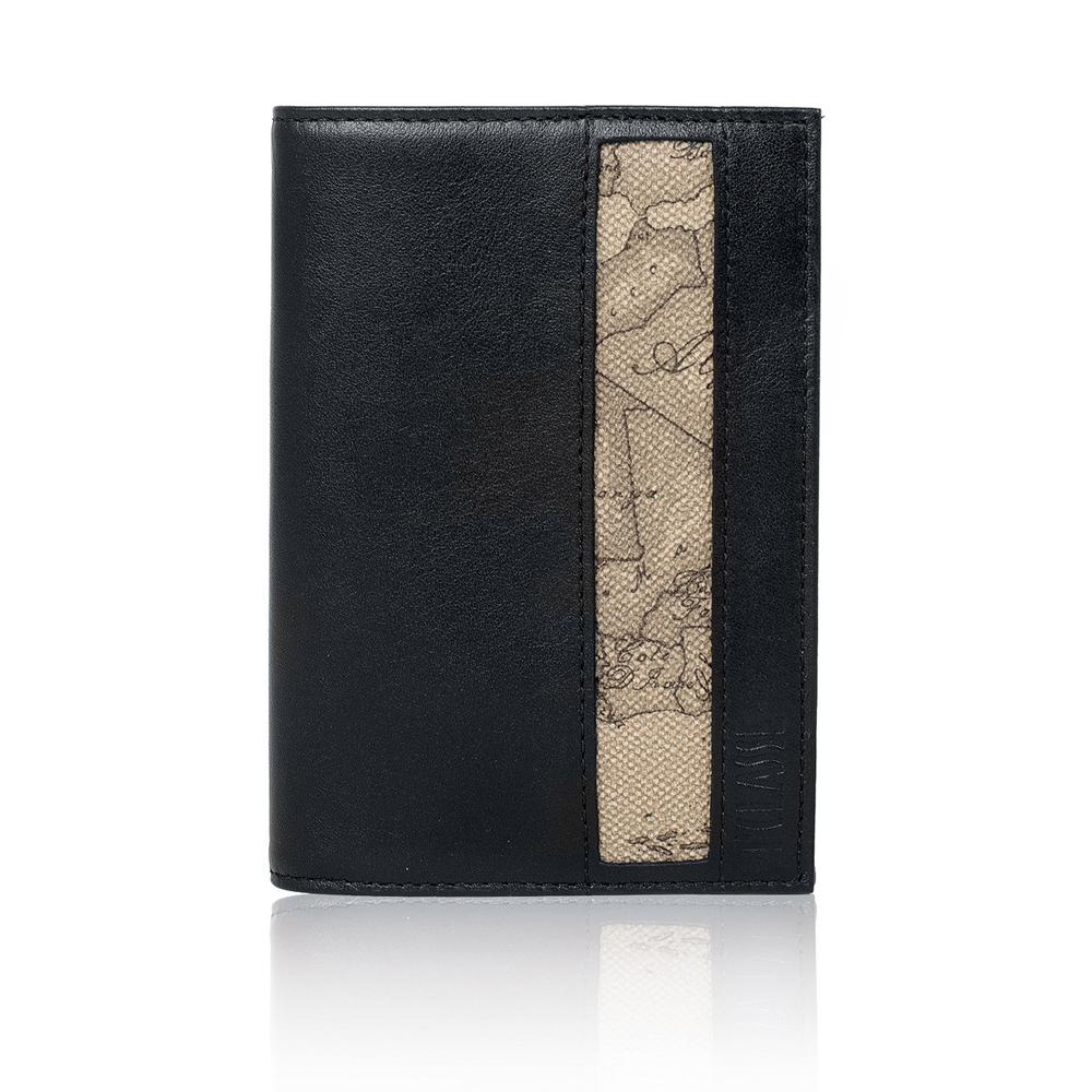 Alviero Martini 義大利地圖包 旅行系列 經典護照夾套-地圖灰/黑
