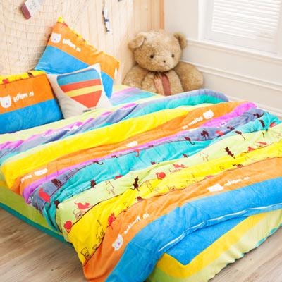 美夢元素 超柔軟法蘭絨雙人加大四件式床包組-快樂喵星人