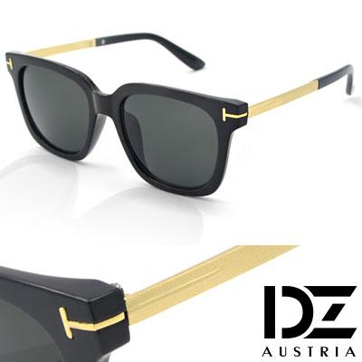 【2件59折】DZ 立體T線金屬砂腳 抗UV 太陽眼鏡墨鏡(亮黑框灰片)