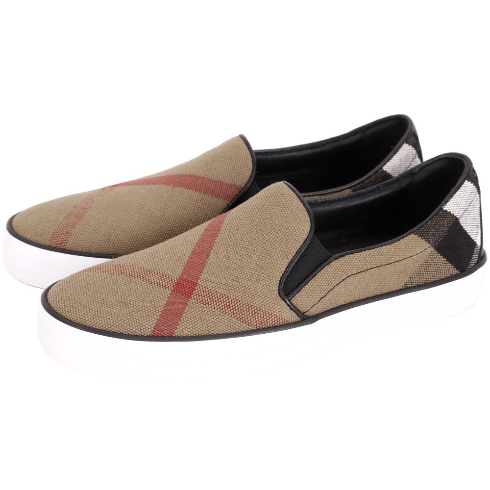 BURBERRY Canvas 經典格紋休閒便鞋(黑色)