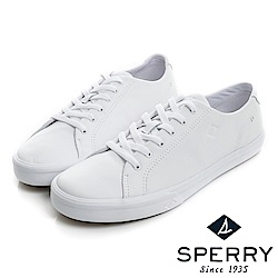SPERRY Striper全新進化吸震減壓皮革6孔休閒鞋(情侶款)-白