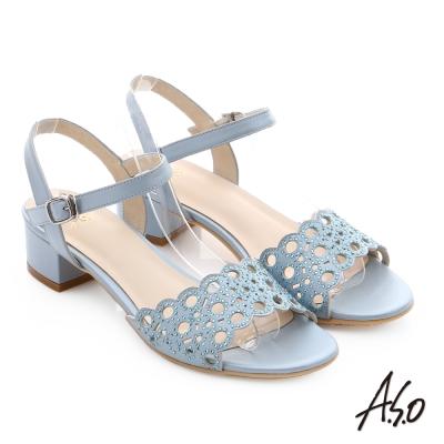 A.S.O 星光注目 全真皮璀璨水鑽奢華涼拖鞋 淺藍色