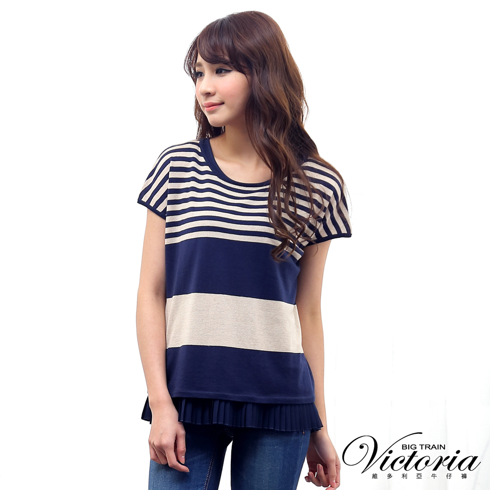 Victoria 真兩件式條紋短袖線衫-女-藍條紋