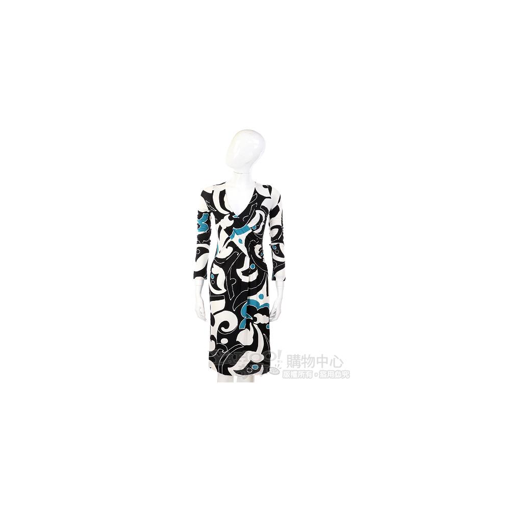 NINA 白/藍色圖騰V領長袖洋裝