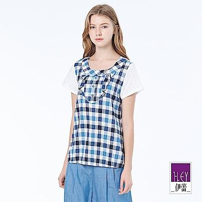 ILEY伊蕾 甜美休閒格紋縫飾上衣(藍)