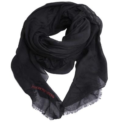 EMPORIO ARMANI 字母LOGO品牌圖騰高質感大絲巾(黑色)