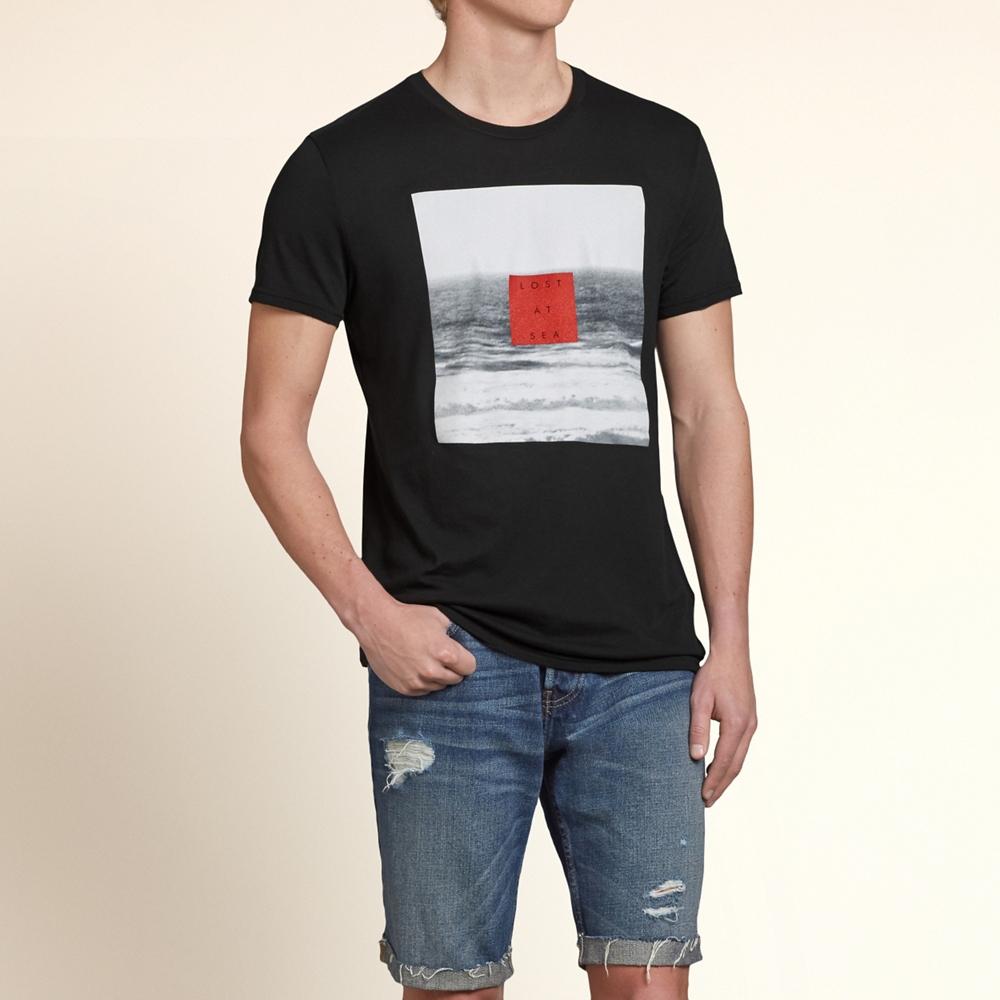 HOLLISTER Co. 男裝 復古海景短T恤(黑)-薄款