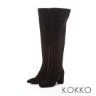 KOKKO-顯瘦美腿可反摺素面高跟長靴-絨面黑