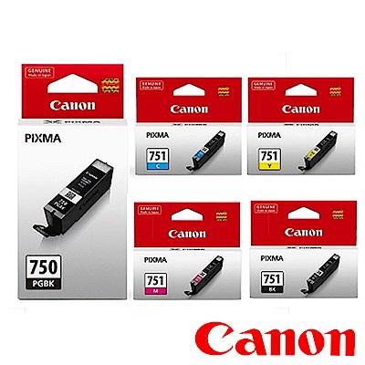 Canon 原廠六色墨水組合(PGI-750/CLI-751BK/C/M/Y/GY)