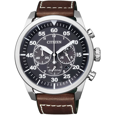 CITIZEN 領航新貴計時光動能計時腕錶(CA4210-16E)-黑x咖啡/45mm