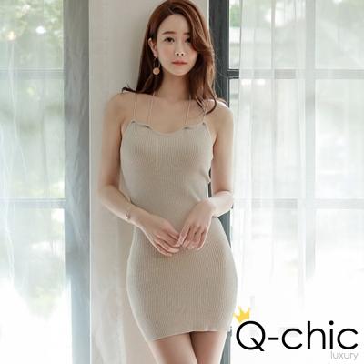 正韓 素面雙細肩帶針織洋裝 (共四色)-Q-chic