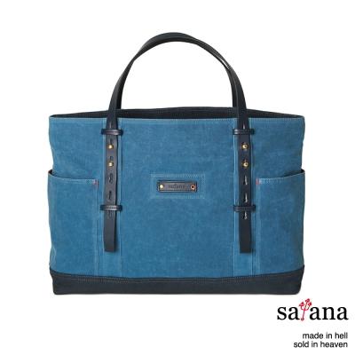 satana - 雙面托特包 - 靛藍色