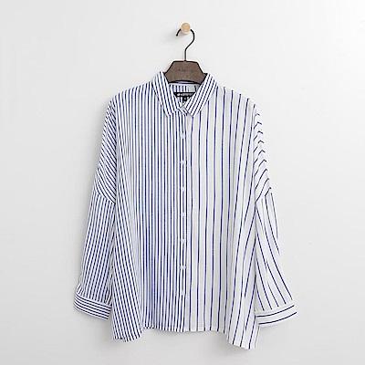 Hang Ten - 女裝 - 條紋傘擺襯衫-藍色