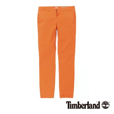 Timberland 女款焦橙色素面彈性修身休閒九分褲