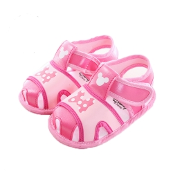 迪士尼米妮魔鬼貼寶寶涼鞋 桃 sk0066 魔法Baby