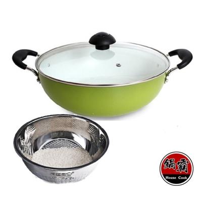 鍋霸-陶瓷不沾多功能萬用鍋28cm-蘋果綠-鵝頭牌