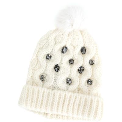 PINKO 鑽飾反折兔毛球針織羊毛帽(白色)