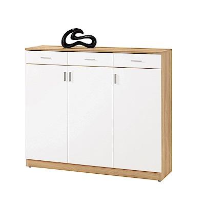品家居 麗莉4尺三門三抽鞋櫃(二色可選)-120x32x108.5cm免組