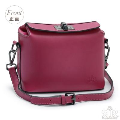 2R-輕軟牛皮Alice時尚轉釦包-甜莓紅