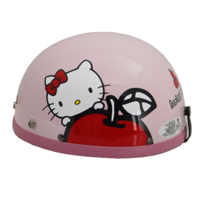 Apple-Hello kitty半頂安全帽+短鏡片+6入安全帽內襯套