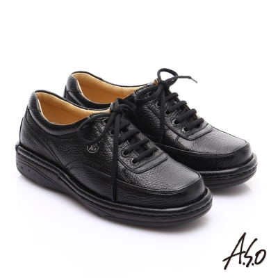 A.S.O 抗震雙核心 真皮外翻雙縫線奈米休閒鞋 黑色