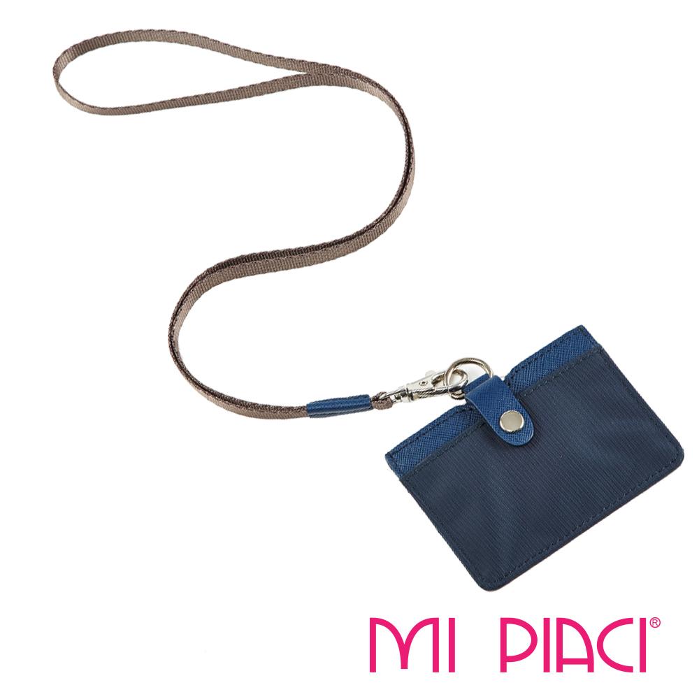 MI PIACI-Jet Set-證件套-布配皮款橫式-1085519-海軍藍