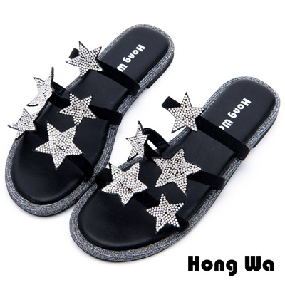 Hong Wa - 時尚潮流滿天星水鑽涼拖鞋 - 銀黑