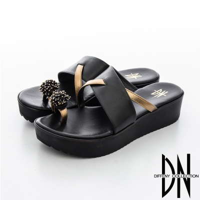 DN 渡假休閒 造型繡球皮飾指環拖鞋-黑