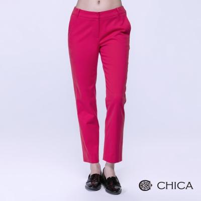 CHICA 復古搶眼紅窄管長褲(1色)