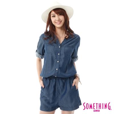 SOMETHING NEO FIT天絲®七分袖連身褲 -女-原藍色
