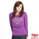 【BOBSON】女款鋁片心型圖案長袖上衣(紫62)