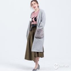 CANTWO毛毛皮草口袋針織長罩衫(共二色)