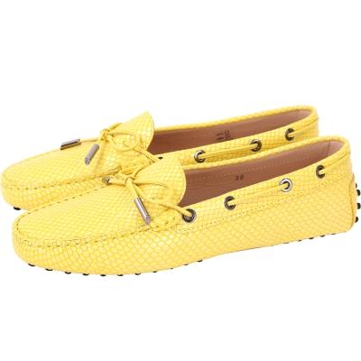TOD'S Gommino Driving 紋理印花綁帶豆豆休閒鞋(黃色)