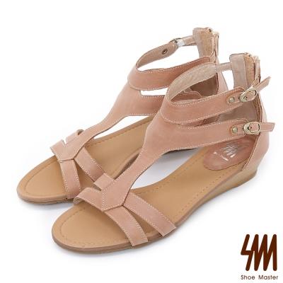 SM~羅馬系列~雙扣帶修飾低跟圓頭低跟楔型涼鞋~杏色