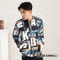 Dreamming 韓系首選滿版字母太空棉棒球外套