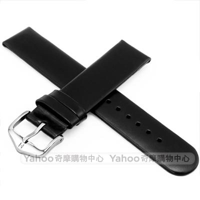 海奕施 HIRSCH Scandic M 設計感圓弧皮革錶帶 防水可清洗-黑